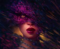 Green Fantasy Mask Art   Purple Mask, 3D, abstract, art, beautiful, black, brown, CG, colors ...