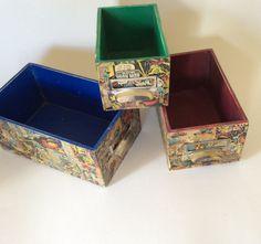Marvel Super hero handmade decoupage set of 3 storage boxes by DottyCottage1 on Etsy