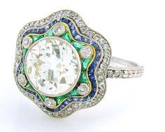 Charming Antique Diamond, Emerald & Sapphire Handmade Ring