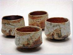 4 Wood Fired Shino Sake Cups, 5.5cm x 6.5cm, 2010 - Elena Renker - 201009gr