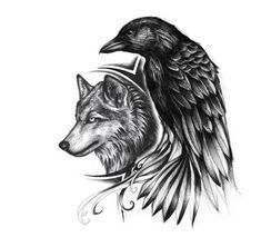 Raven and wolf tattoo idea but i like it with a songbird instead