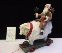 "ANTIQUE~VINTAGE-STYLE ""Sheep Wheel-toy Cart""~Santa riding~By: Jean T Littlejohn"