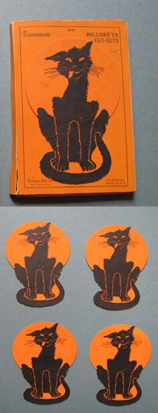 Vintage Halloween Ephemera ~ Dennison Hallowe'en Black Cat Cut-Outs / Tags