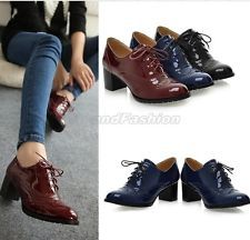 Ladies Shiny Patent Lace Up Round Toe Chunky Heel Court Brogue Shoes Plus Size