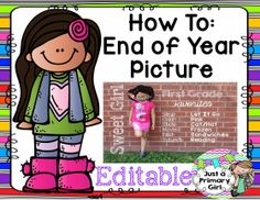 End of year picture template. Easy and free tutorial. Follow my tpt for other exclusive follower freebies