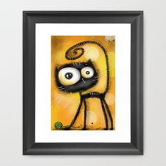 Playing+cat+Framed+Art+Print+by+main+-+$33.00