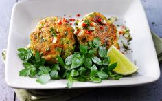 Fish Cakes with Chilli and Coriander Sauce - Fish Recipes - Bord Bia Fish Recipes, New Recipes, Baby Spinach Salads, Lemon Green Beans, Red Curry Paste, Sweet Chilli Sauce, Watercress Salad, Fresh Coriander, Whiting Fish