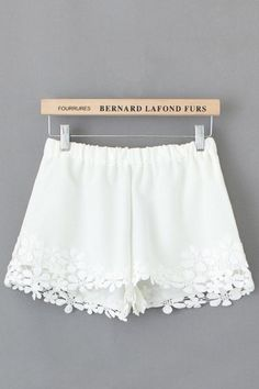 Elastic Waist Lace Splicing Polyester Shorts