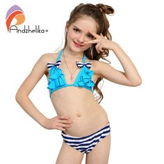 f2a5f9fd629f3 Andzhelika 2017 New Bikinis Set Children's Swimsuit Cute Bow Solid striped  Bottom Girls Swimwear Swimming Suit
