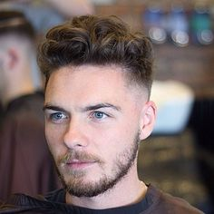 Messy Wavy Hair with Mid Fade and Beard