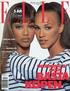 ELLE Magazine Sweden 1993. Iconic ELLE cover with our own Swedish super model Emma Sjöberg and Tyra Banks