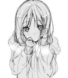 anime, child, cute, drawing, digital art, girl, long hair, manga, little