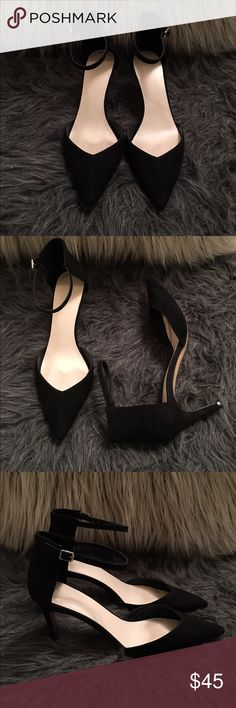 Zara Black D'Orsay Heels Zara Basic D'Orsay suede black heels with ankle straps. Excellent condition, small scuff on one heel, not noticeable. Size 40 Zara Shoes Heels