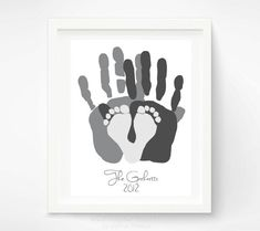 Personalized Family Portrait - Gift for New Dad - First Father's Day Gift - Baby Footprint Hand Print Art - Unique Family Art via Etsy