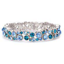 Blue rhinestone prom bracelet