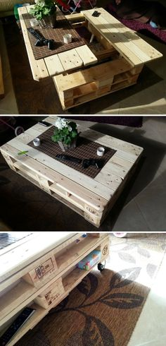 Multifunctional Pallet Coffee Table #pin_it #DIY #wood #furniture @mundodascasas www.mundodascasas.com.br