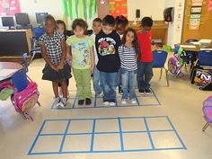 A great way to introduce ten-frames, tape off a ten-frame (s) on the floor and a have the kiddos fill them in. You can add or subtract students as you please. student, floor, ten frames, number, kindergarten blogs, shower curtains, paper plates, kid, masking tape