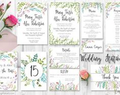 Watercolor Leaves Printable Wedding by AmistyleDigitalArt on Etsy - Watercolor Leaves Printable Wedding Invitation Suite   Wedding Invitations,Printable Invitation,Wedding Invites,DIY Wedding,Floral Invite - This listing is for a hand painted printable wedding invitation suit with watercolor leaves and floral elements