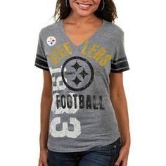 Nike Pittsburgh Steelers Ladies Touchdown Tri-Blend V-Neck T-Shirt ...