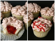 DIY Brain with Blood Clot Cupcake Tutorial rom Annie's Eats. The cupcake filling is canned cherry...