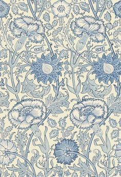 Pink & Rose Morris Wallpapers - A large stylised design of intertwining stems of flowering carnations and roses, inspired by the 1890 original. Shown in the shades of blue colourway. Please request sample for true colour match. William Morris Wallpaper, William Morris Art, Morris Wallpapers, Blue Wallpapers, Best Flower Wallpaper, Rose Wallpaper, Fabric Wallpaper, Art Nouveau, William Morris Patterns