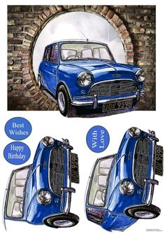 Oh My Mini by Eliza Brown The iconic Mini appearing through a hole in the wall. Decoupage the car.: The iconic Mini appearing through a… Sports Car Price, Decoupage Printables, Steampunk Clock, 3d Cards, Christmas Scenes, 3d Prints, Fathers Day Cards, Decoupage Paper, Card Patterns