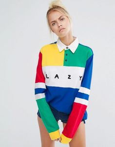 Obsessed with this lazy primary color block oversized rugby long sleeve shirt.