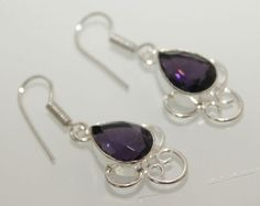AWESOME PURPLE QUARTZ DESIGNER WEAR FOR HER 925 SILVER NEW PAIR OF FASHION 380 #925silvercastle #DropDangle
