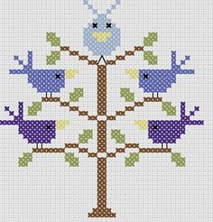 Stickeule: A bird tree pattern