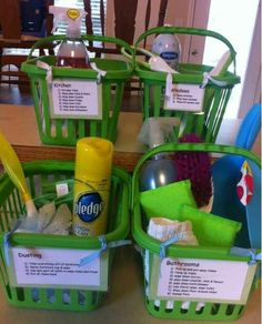 Chore Baskets with cleaning descriptions. Perfect for getting kids involved with household chores and sequencing. Could also be used for basic ADLs, such as morning routine tasks. Diy Cleaning Products, Cleaning Hacks, Organize Cleaning Supplies, Cleaning Caddy, Cleaning Supply List, Home Cleaning Tips, Norwex Products, Norwex Biz, Cleaning Lists