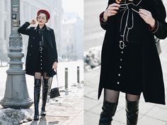 Andreea Birsan - Suede Button Front Mini Skirt, Contrast Tie Neck Blouse, Double Breated Military Coat, Patent Over The Knee Boots, Red Beret, Mini Piper S Leather Bag, Cat Eye Glasses, Fishnet Tights - How to wear a suede skirt like a Parisian