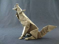 Origami Howling Wolf