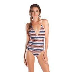 Strappy Braided One Piece Swimsuit Midnight/Blush M - Vanilla Beach