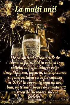Felicitari de anul nou 2019 - La mulți ani! New Year Wishes, Happy New Year 2019, An Nou Fericit, Diy And Crafts, Congratulations, Happy Brithday, Happiness, Vintage Christmas Images, Pictures