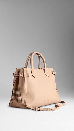 Burberry - The Medium Banner in Leather and House Check - In the color Stone