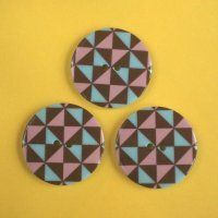 Blue, Pink and Brown Geometric Patterned Buttons - Folksy