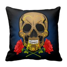 Scary skull and roses pillow. Skull Pillow, Skulls And Roses, Chicago Illinois, Decorative Throw Pillows, Scary, Goth, Skeletons, Fun, Fictional Characters