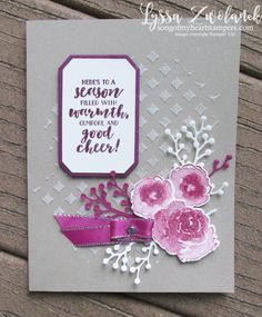 First frost frosted floral bouquet Stampin Up holiday cards holly winter roses embossing paste Christmas Card Crafts, Stampin Up Christmas, Holiday Cards, Gift Bouquet, Embossed Cards, Stamping Up Cards, Get Well Cards, Winter Cards, Pretty Cards