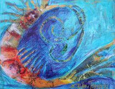 Abstract Shrimp Original Mixed Media by ErikaJohnsonGallery, $65.00