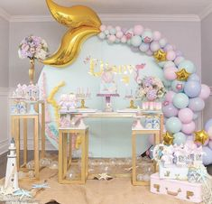 Mermaid Theme Party by Inspiring Krislaine Reusing ⠀ .⠀ Get Inspired and Make the Party SHOPFESTA ? Balloon Decorations, Birthday Party Decorations, 1st Birthday Parties, Party Themes, Party Ideas, Balloon Ideas, Baby Birthday Themes, Birthday Ideas, Balloon Arch