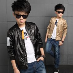 2016 Autumn Fashion Kids Clothes Boys Jacket Long Sleeve Casual Kids Jacket Faux Leather Coats Boys Motorcycle Outerwear Black
