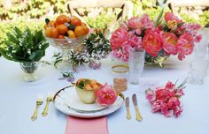 love the color & peonies! - How to Style a Wedding Table by Anne Book and photography by Danielle Moss