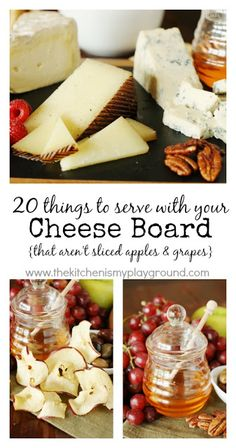 20 Things to Serve with Your Cheese Board {That Aren't Crackers, Sliced Apples & Grapes} www. 20 Things to Serve with Your Cheese Board {That Aren't Crackers, Sliced Apples & Grapes} www. Cheese Platter Board, Cheese Platters, Food Platters, Cheese Boards, Charcuterie Recipes, Charcuterie And Cheese Board, Best Cheese, Meat And Cheese, Cheese Appetizers