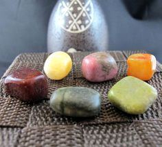 Serpentine, Rhodonite, Jasper Tumbled Stone Set of 6 Minerals (54 Grams)