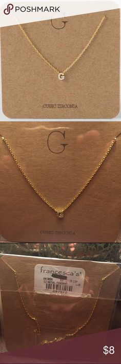 "Cubic Zirconia Initial ""G"" Necklace Delicate, gold cubic zirconia initial necklace.  ""G"" Francesca's Collections Jewelry Necklaces"