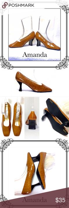 """SQUARE TOE PUMPS. NWOT Amanda brand // NWOT // faux Ostritch leather // chunky square 2"""" heels // no scuff marks // nice and shinny new // Vintage look. 🌟🌟🌟🌟🌟 Amanda Shoes Heels"""