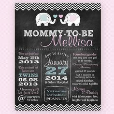 Mommy-To-Be TWINS! Baby Shower Chalkboard Pregnancy Announcement. Super cute way to welcome baby.