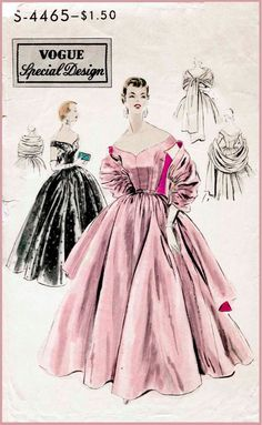 Circa 1955, womens evening dress and stole pattern. Very full circular skirt is gathered and joins bodice at waist-line. Low off-the-shoulder neck-line, front and back. Tiny cap sleeves, cut in one with the bodice. Stole has gathered centre section joined to straight ends. ★ ★ ★ ★