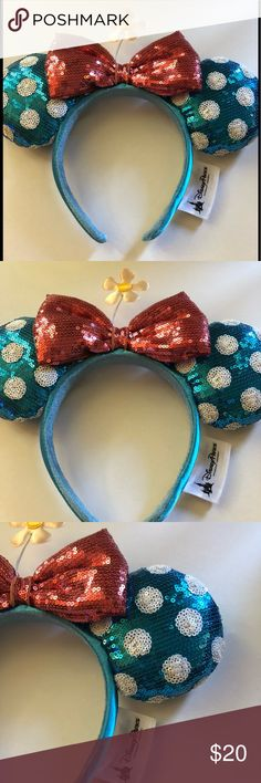 Disney Parks Sequined polka dot daisy Minnie Ears Disney polka dot daisy Minnie Ears/ headband. One size new with no tag. Disney Accessories Hair Accessories