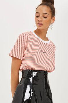 PETITE 'Romantic' Slogan Stripe T-Shirt - Topshop USA